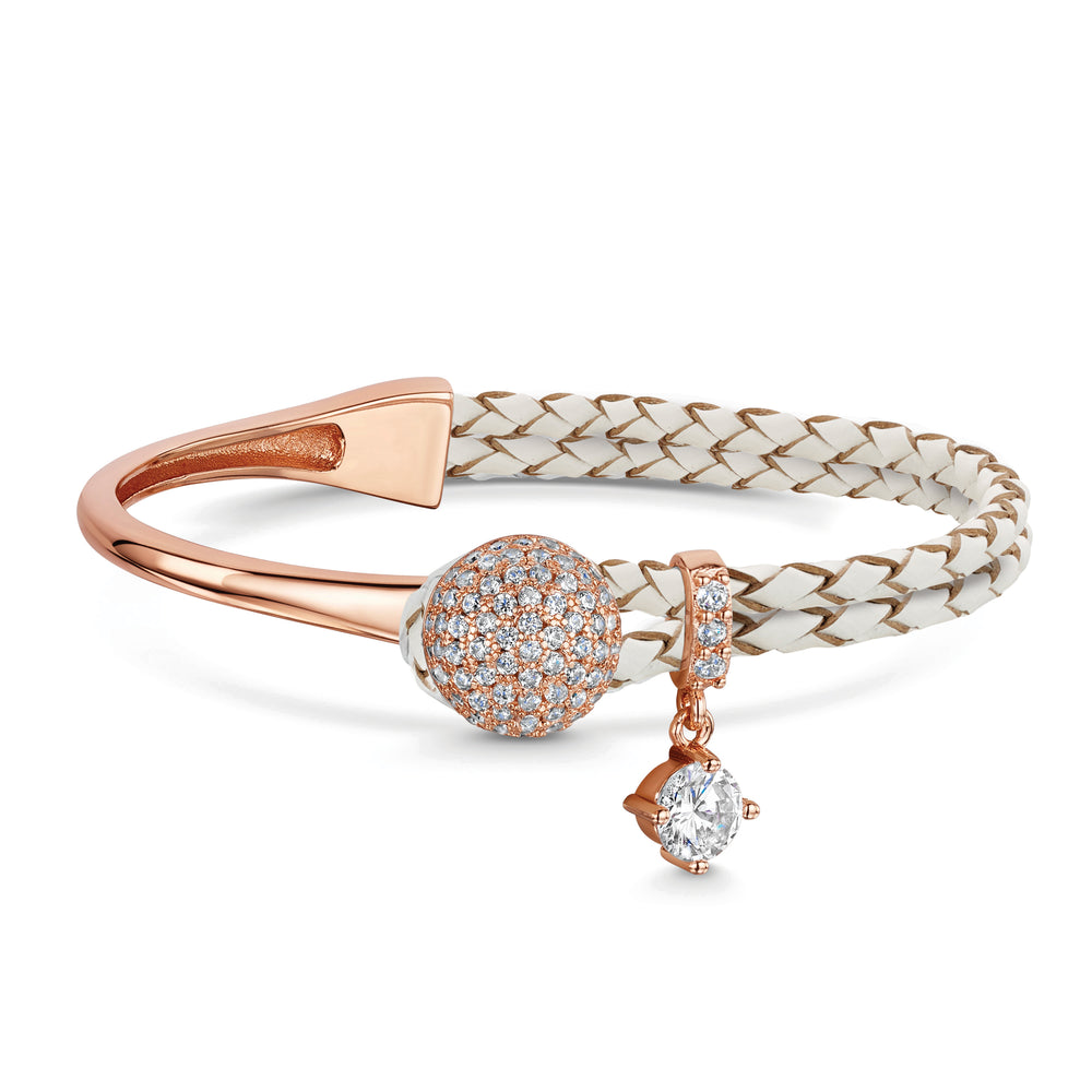 Load image into Gallery viewer, Dianna Leather Bracelet - Cream/Rose gold