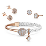Dianna Leather Bracelet Set - White/Rose Gold