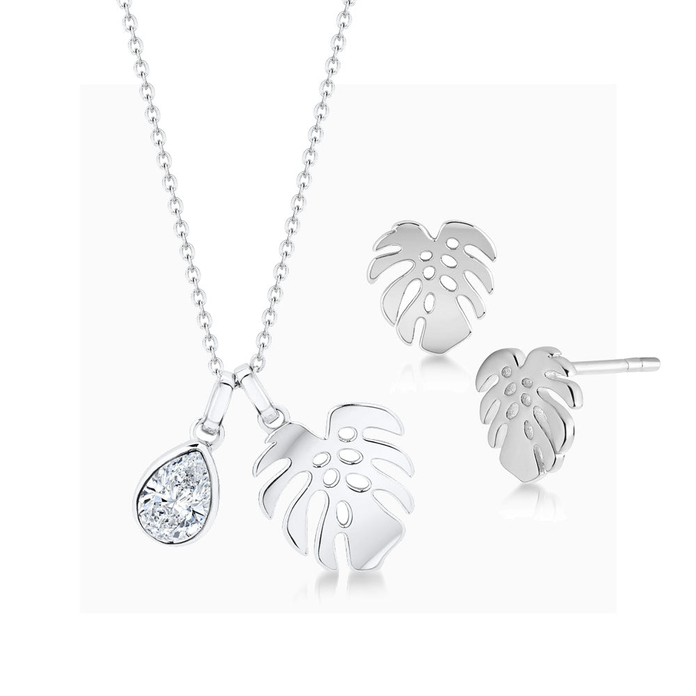 Load image into Gallery viewer, Florence pendant & earring set rhodium