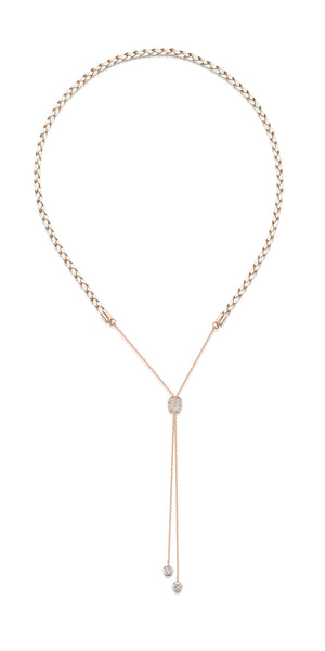 Alana Necklace- Braided Leather Necklace -Rose Gold Necklace