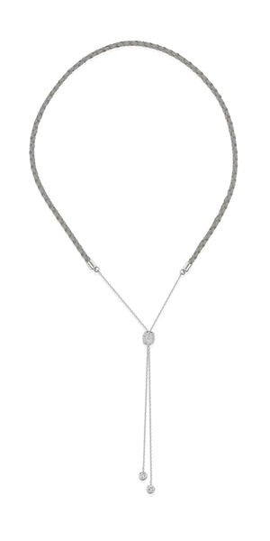 Alana Necklace- Braided Leather Necklace -Silver Necklace