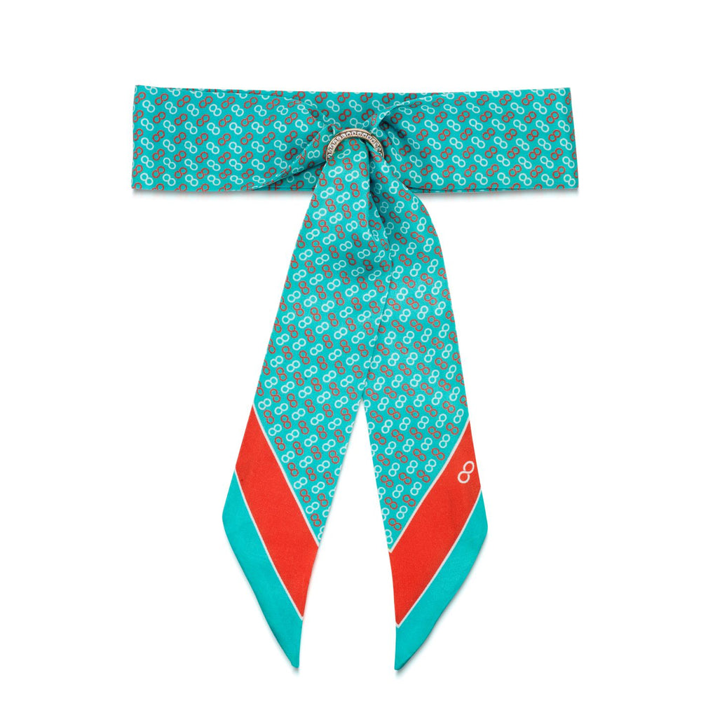 Load image into Gallery viewer, Silky Logo Print Aqua & Rhodium