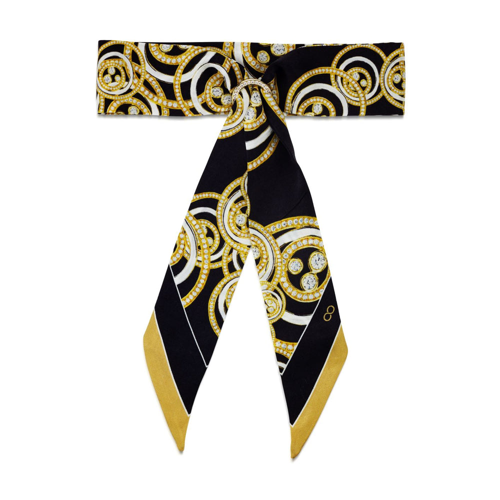 Load image into Gallery viewer, Silky Charlotte Print Black & Gold