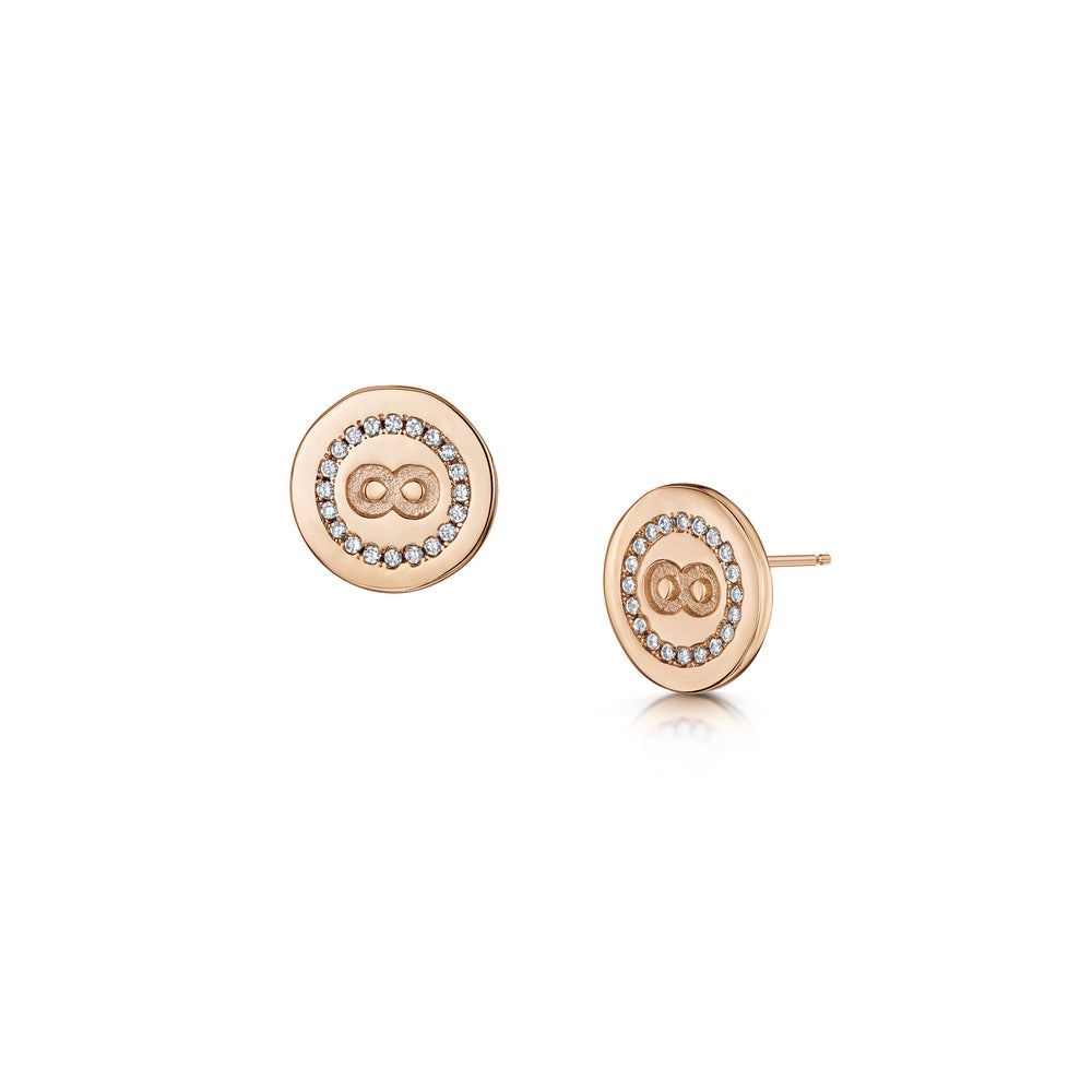 Load image into Gallery viewer, rose gold infinity stud earrings