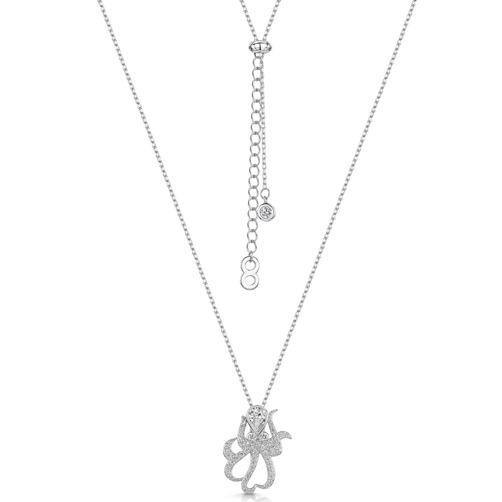 Michelle Pendant - 'octopus' - Rhodium/Clear