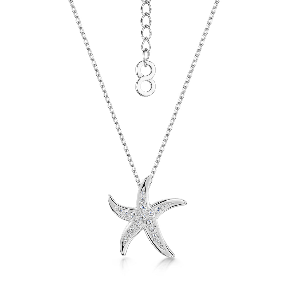 Load image into Gallery viewer, Michelle Pendant - 'starfish' - Rhodium / Clear