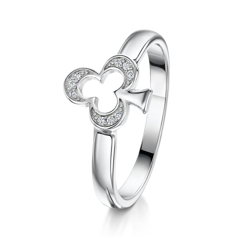 Load image into Gallery viewer, Alice Stacking Ring 'Club' - Rhodium - S/M/L