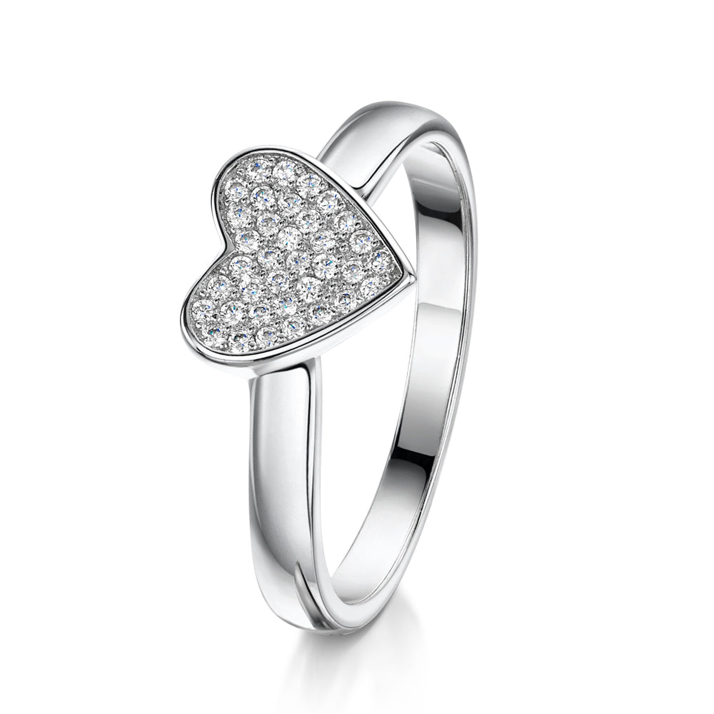 Alice Stacking Ring 'Heart' - Rhodium - S/M/L
