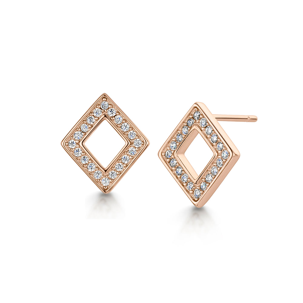 Load image into Gallery viewer, DIAMOND ROSE GOLD EARRING STUD