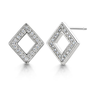 DIAMOND RHODIUM EARRING STUD