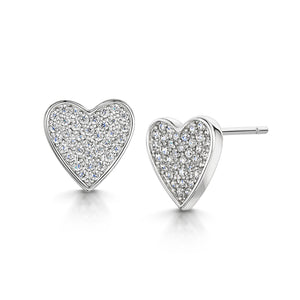 HEART RHODIUM STUD EARRING