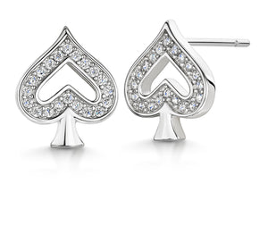 Load image into Gallery viewer, SPADE RHODIUM EARRING STUD