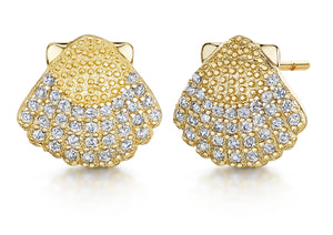 Michelle Studs- 'shell' - Gold/Clear