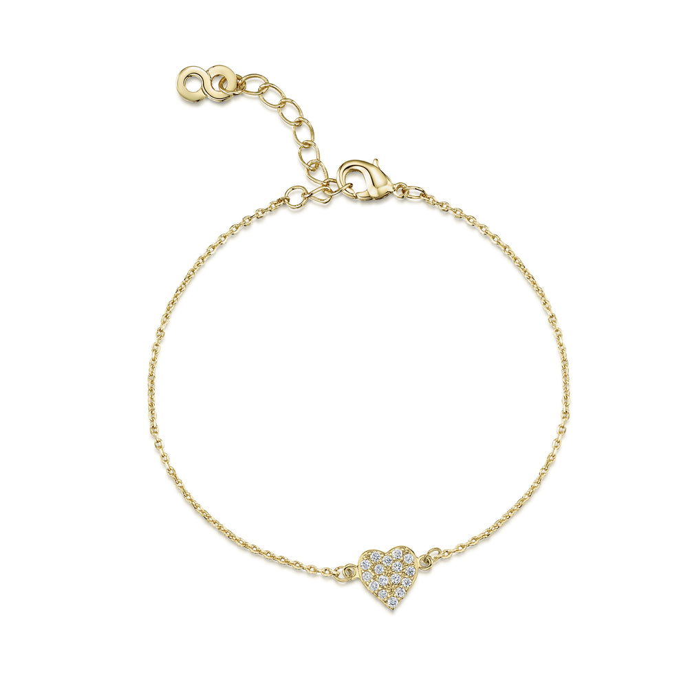 Pave Heart Bracelet - Yellow Gold