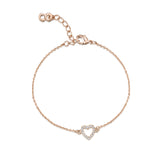 LXI Open Pave Heart Bracelet - Rose Gold