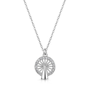 Load image into Gallery viewer, LXI Ferris Wheel Pendant- Rhodium