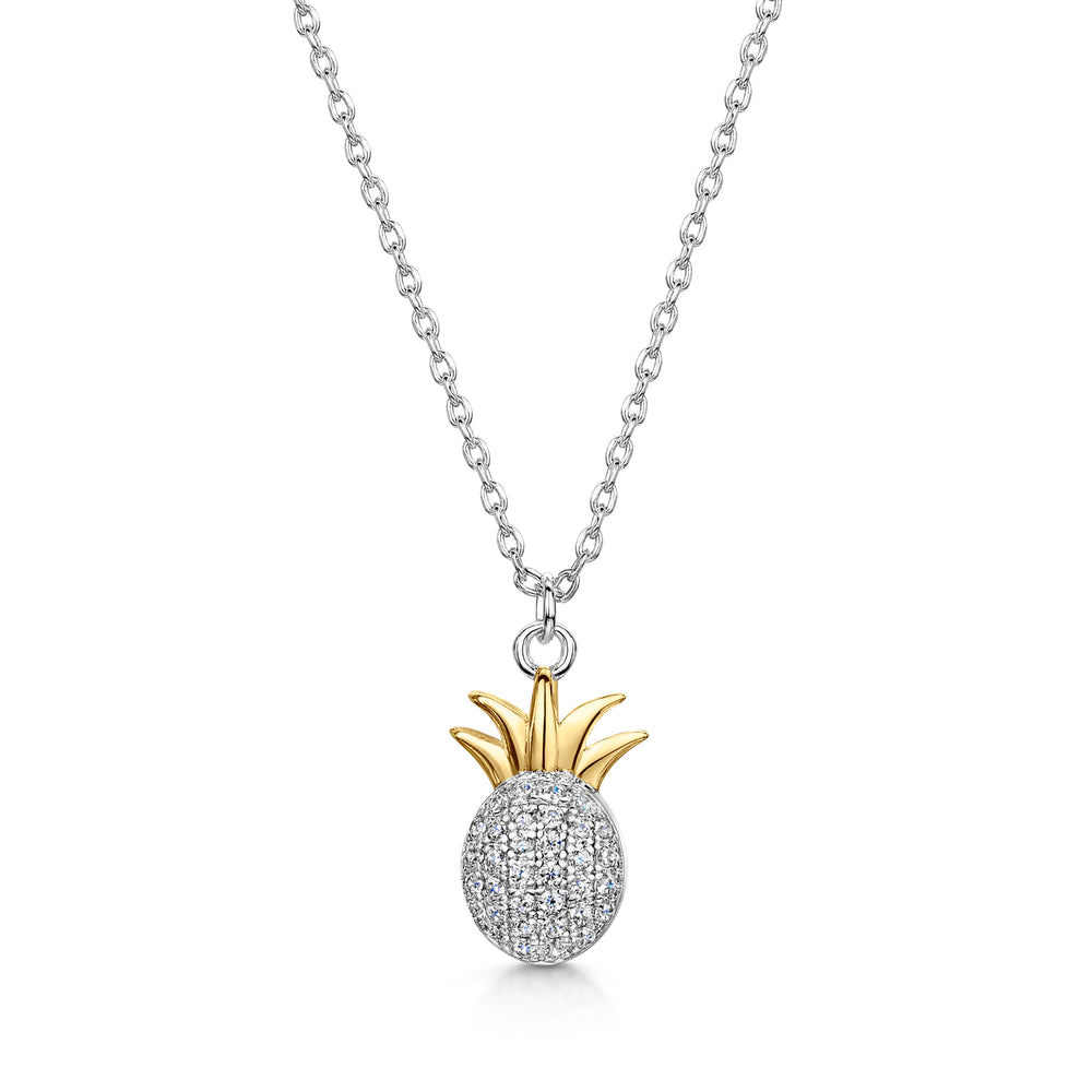 LXI Pineapple Pendant- Rhodium