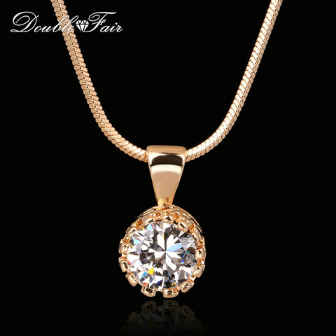 Unique Crown CZ Diamond Necklace Silver/Rose Gold Plated - CIEB MOZ