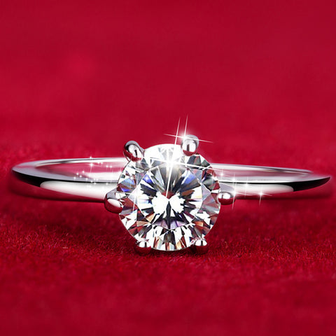 White Gold Ring with Zircon CZ Diamond - CIEB MOZ