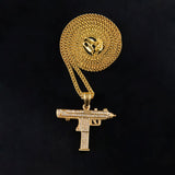 Gold Gun Cuban Chain with Ice Diamonds Pendant - CIEB MOZ
