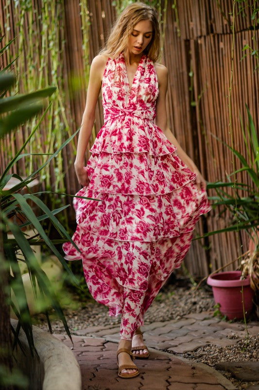 Roslyn Pink Floral Tiered Maxi Dress