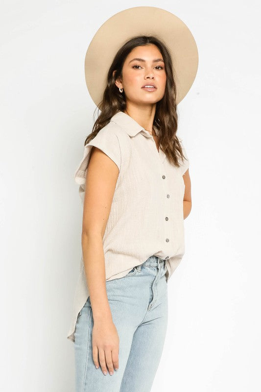 Katie Button Up Collared Top