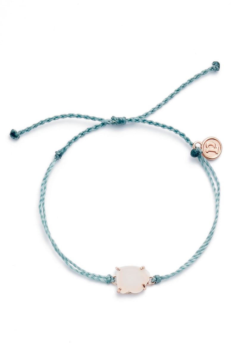 Sea Glass Charm Bracelet - Smoke Blue