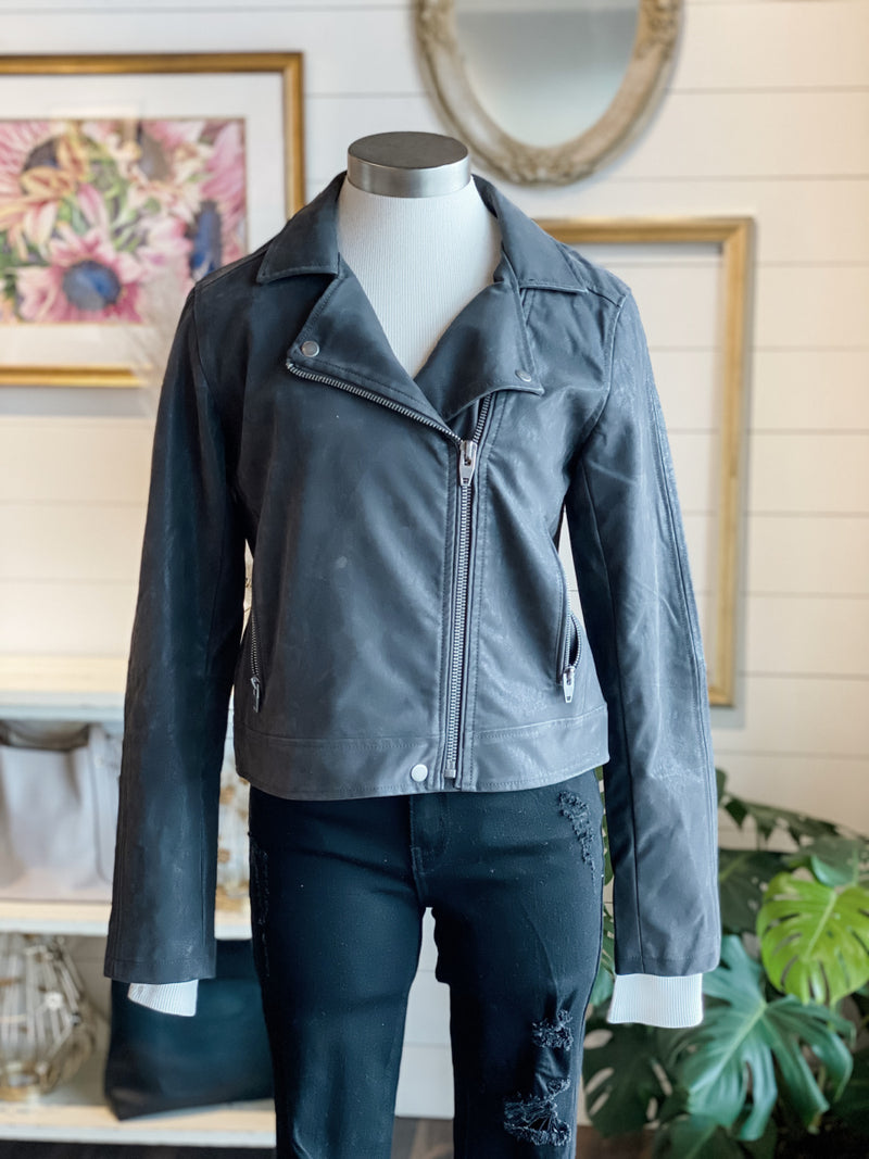Maxwell Faux Leather Moto Jacket
