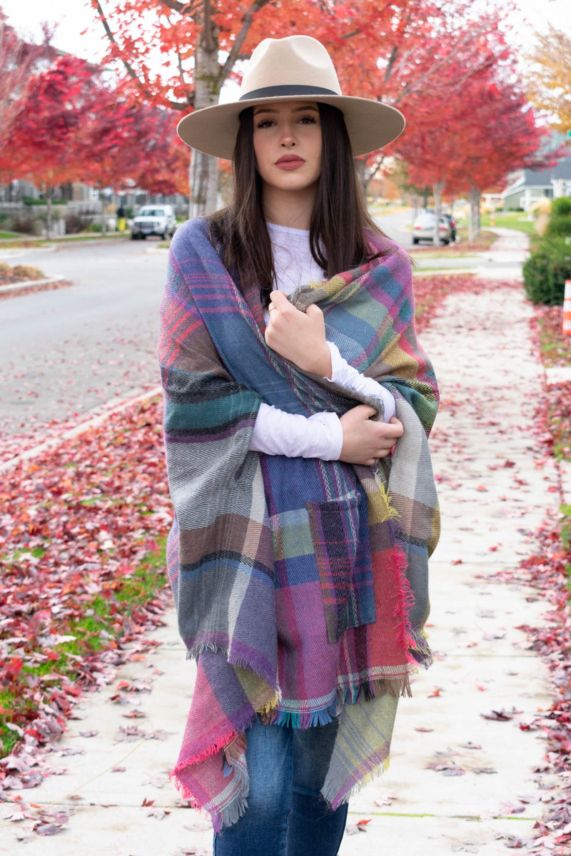 A plaid wrap with poncho sleeves, Fall outerwear - Boutique Bleu
