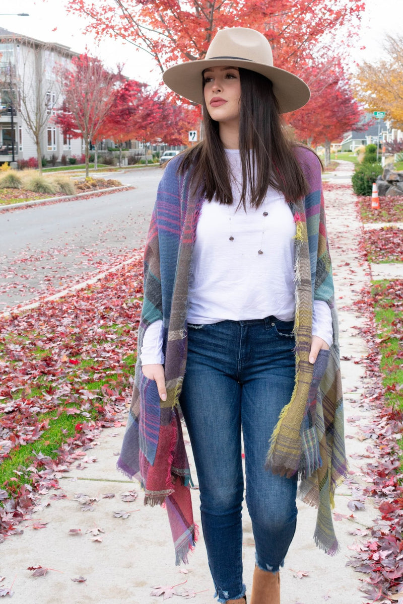 Plaid Blanket Scarf Scawl, Ruana | Boutique Bleu