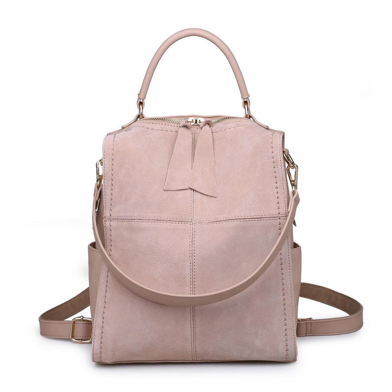 Brette Backpack from Moda luxe in natural Suede Leather, available at Boutique Bleu in Kendall Yards, Spokane Wa.