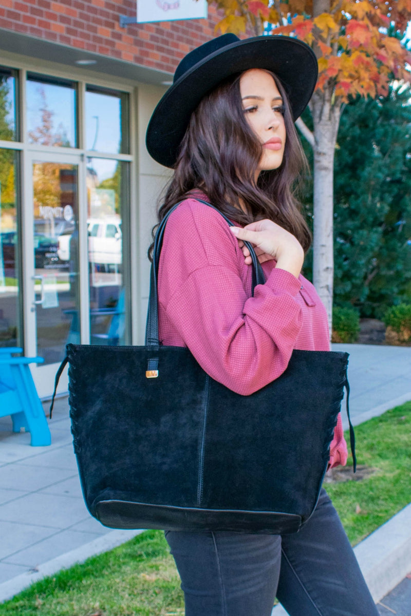 Black Suede Leather Tote Handbag - Boutique Bleu