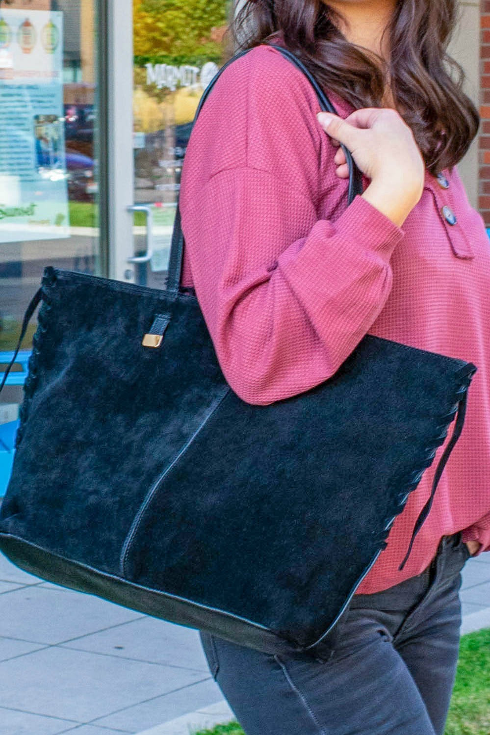Suede Leather Front Tote Bag - Boutique Bleu