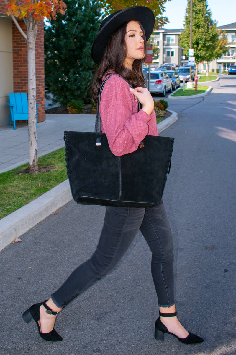 Stylish Fall Black Suede Leather Tote Bag - Boutique Bleu