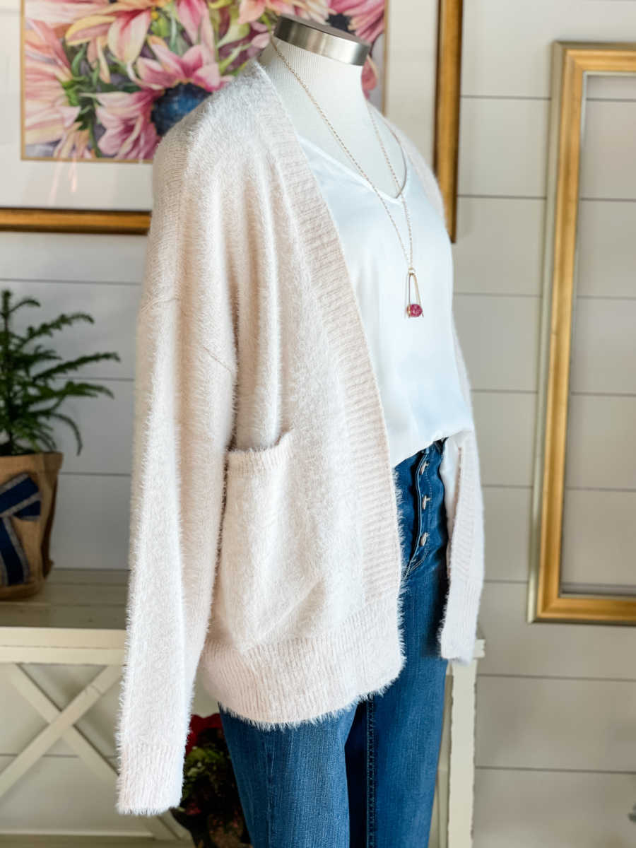 Emmy Fuzzy Blush Cardigan