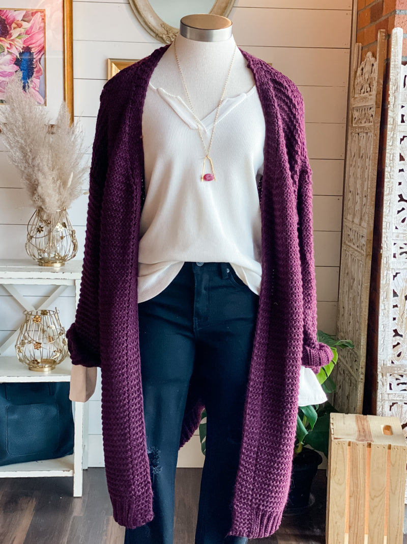 Tatum Burgundy Knit Cardigan