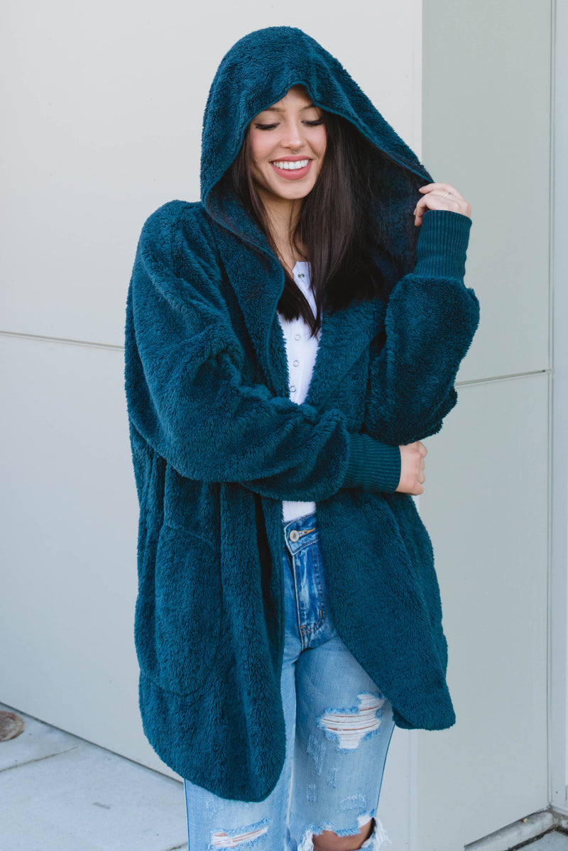 Teal Faux Fur Cardigan with Hood - Boutique Bleu