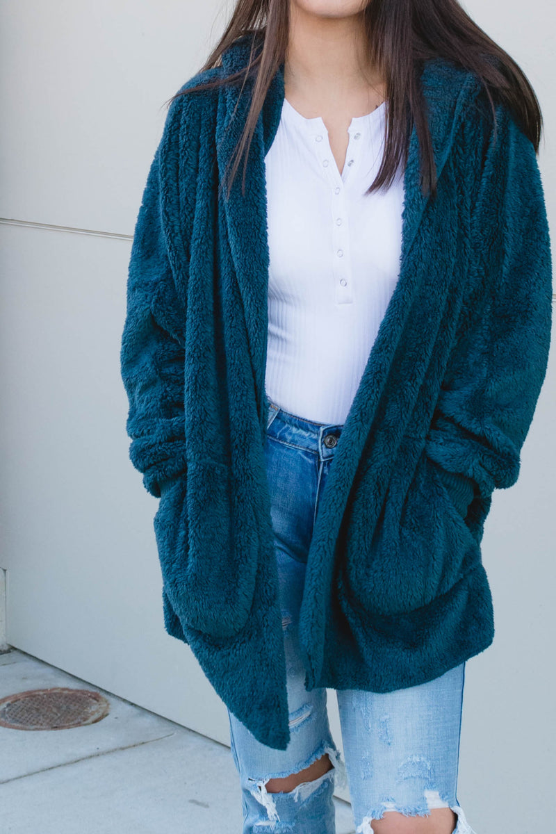 Open Teal Blue cardigan with pockets - Boutique Bleu