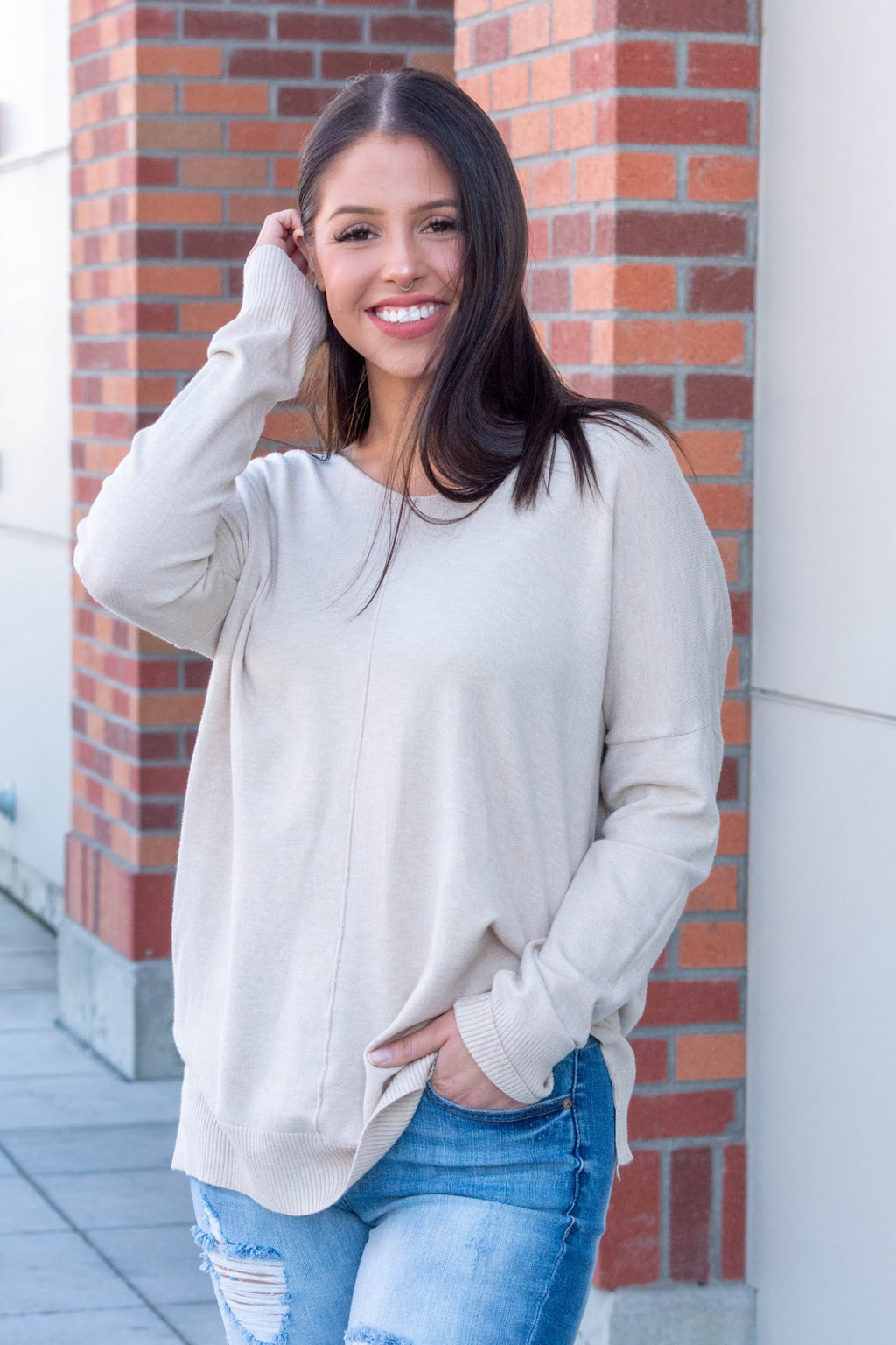 Heather Tunic Sweater - Oatmeal