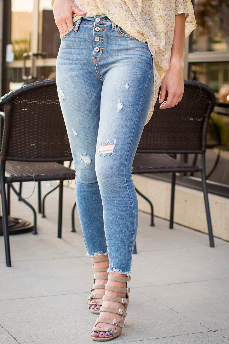 Kancan button fly ankle skinny jeans with light distressing - boutique bleu