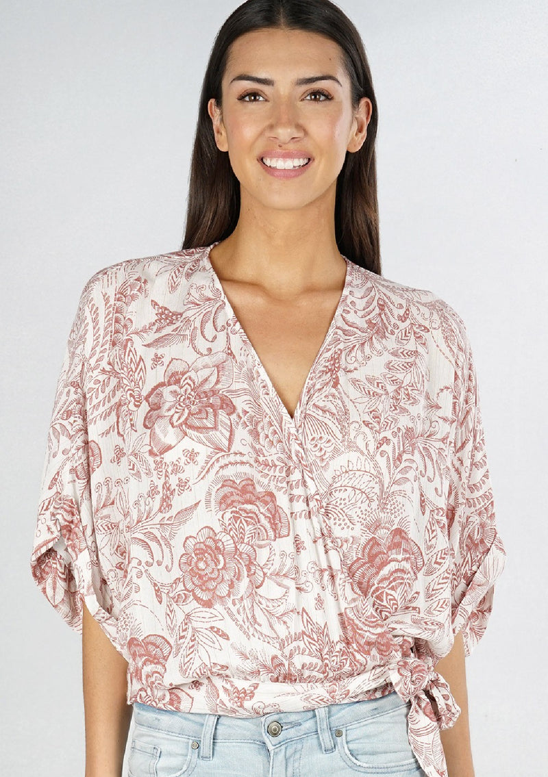 Kimmi Side Tie Wrap Floral Top