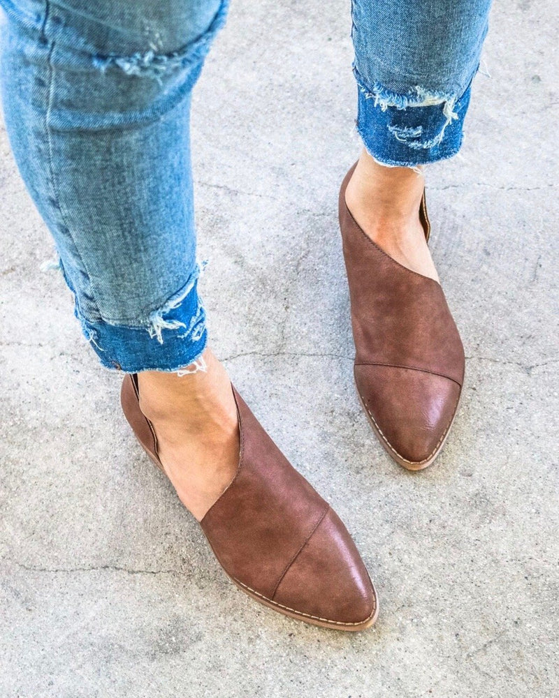 Womens brown slip on flats with cut out detail - Boutique Bleu