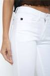 front pockets in white distressed summer skinny jeans | boutique bleu spokane