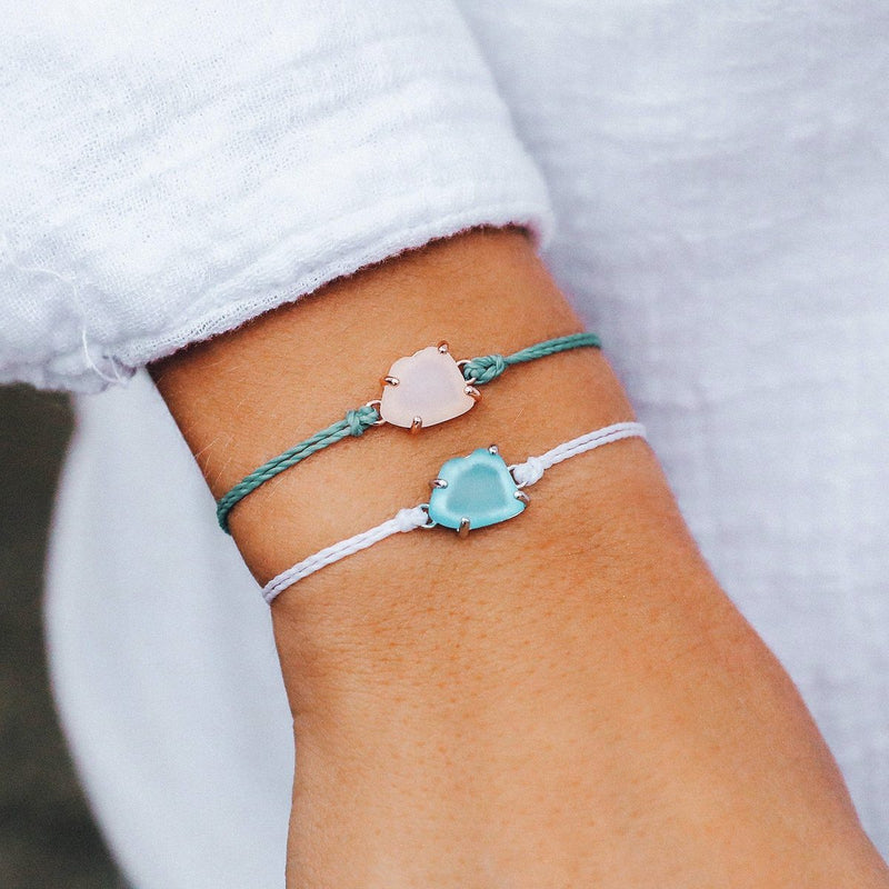 Sea Glass Charm Bracelet - White