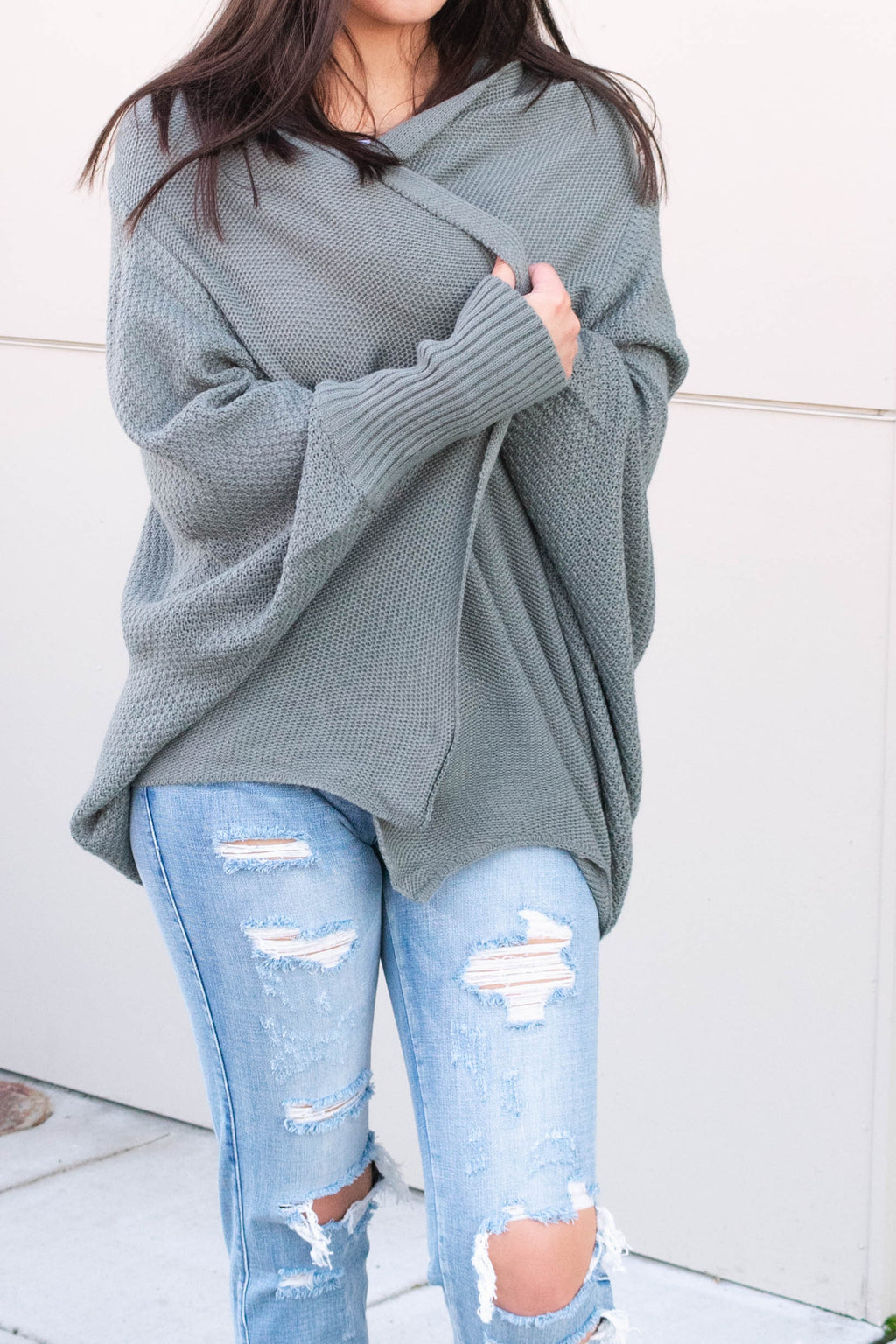 Dark Sage Dolman Sleeve Cardigan - Boutique Bleu