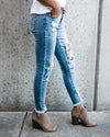side-kancan distressed light medium jeans  boutique bleu spokane