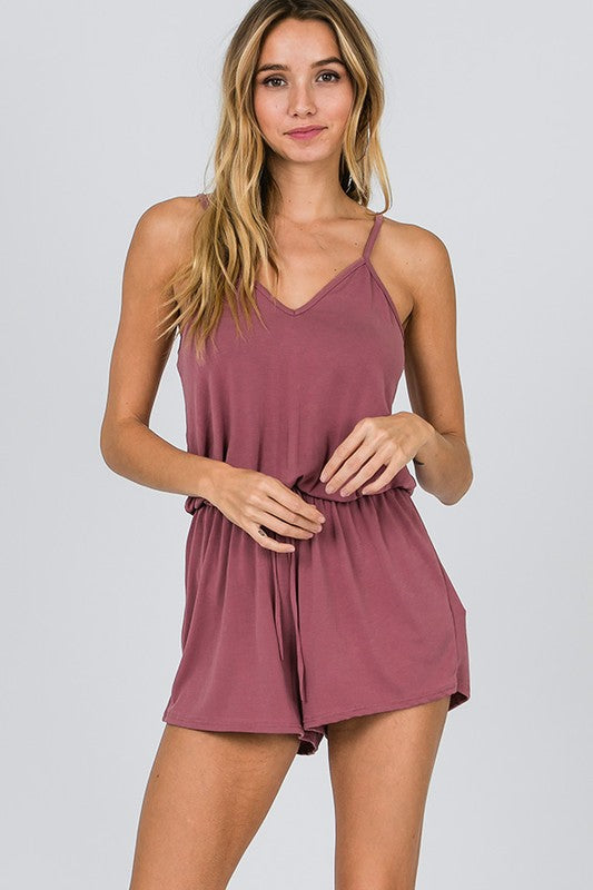 Summer Rompers, Mauve playsuit, v-neckline | Boutique Bleu