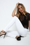 white summer jeans with black heels outfit | boutique bleu spokane