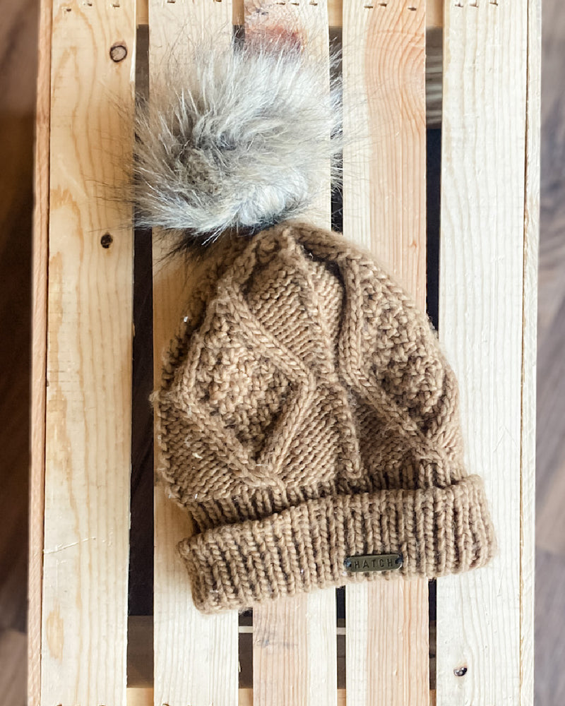 Cable Knit Fur Pom Beanie