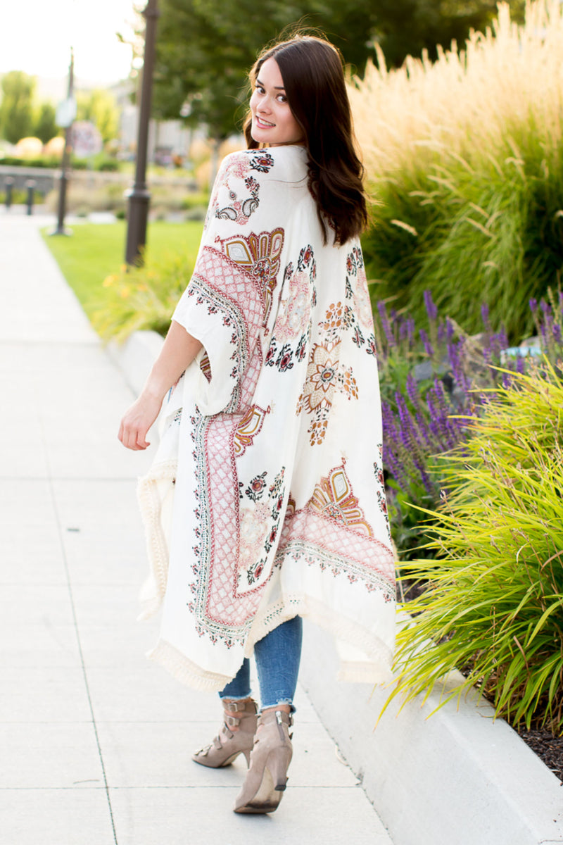 Women's Kimon Cardigan with tassel trim in Bohemian print - Boutique Bleu